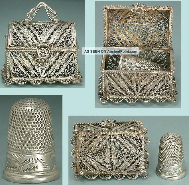 Antique Sterling Silver Filigree Thimble Chest & Thimble English 19th Century Thimbles photo