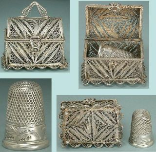 Antique Sterling Silver Filigree Thimble Chest & Thimble English 19th Century photo