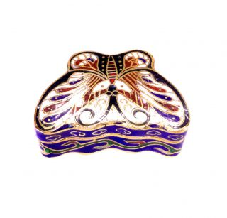 Rare Vintage Chinese Cloisonne Enamel Trinket Pill Box Pin Dish Butterfly photo