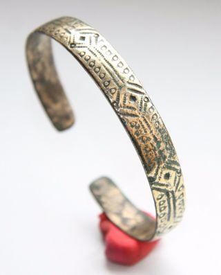 Ancient Bronze Ornament Decorated Hand Bracelet.  (jnr02) photo