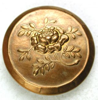 Antique Golden Age Brass Copper Button Detailed Rose Blossom - 7/8 - Back Mark photo