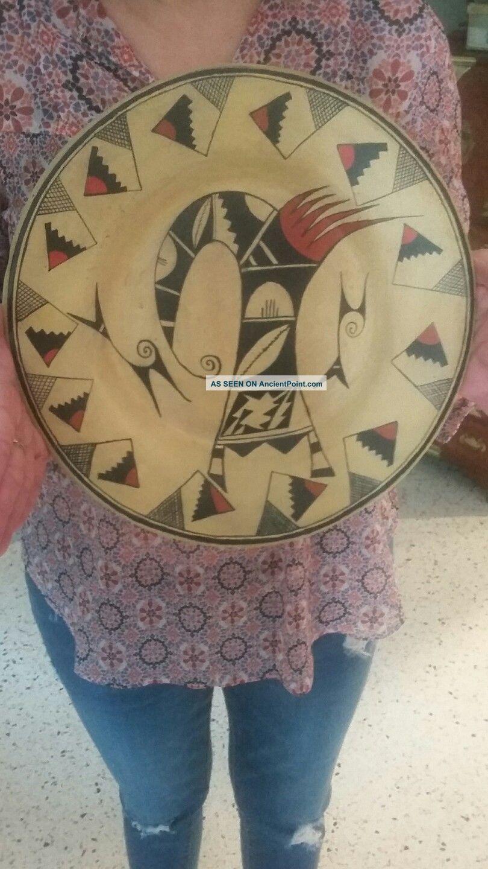 Vintage Hopi Tewa Large Sikatki Design Plate.  Not Navajo Native American photo