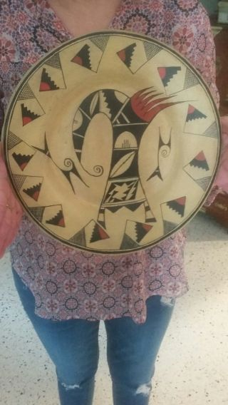 Vintage Hopi Tewa Large Sikatki Design Plate.  Not Navajo photo