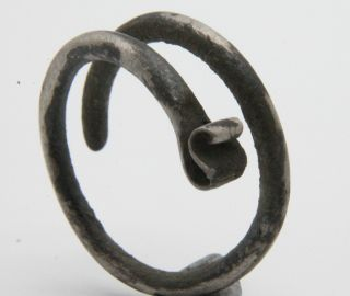 Ancient Celtic Period Silver Coiled Spiral Ring 500 B.  C.  Vf, photo