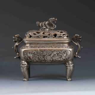 Chinese Tibetan Silver Hand - Carved Dragon Incense Burner&lid W Xuande Mark photo