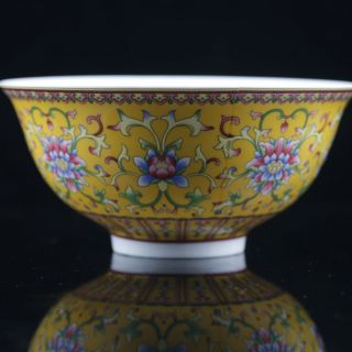 Chinese Famille Rose Porcelain Painted Flower Bowl W Qianlong Mark photo