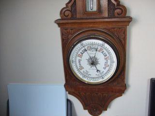 Vintage Antique Hand Carved Oak Aneroid Barometer J W Butler Scarborough photo