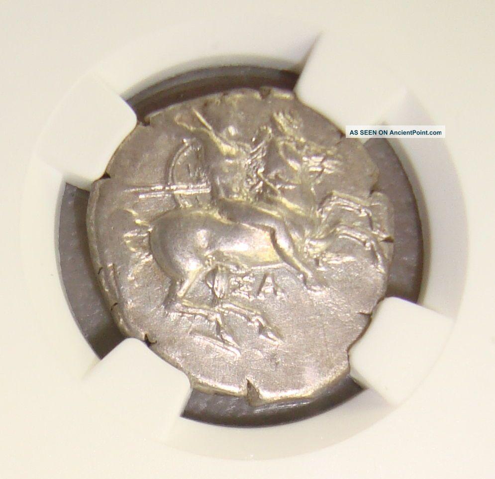 Ca.  325 Bc Calabria,  Taras Ancient Greek Silver Didrachm Ngc Choice Xf 4/5 4/5 Greek photo