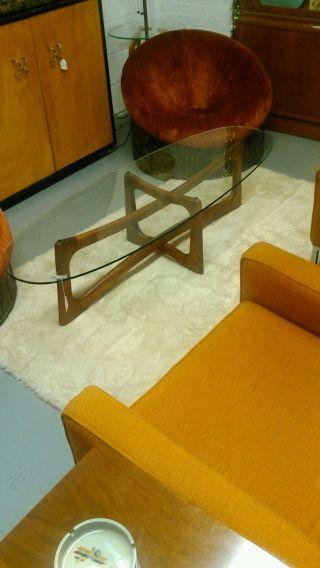 Mid Century Modern Adrian Pearsall Walnut Glass Surfboard Coffee Table photo