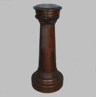 Antique Oak Pedestal Stand – Finish - Well Built - Sturdy photo
