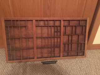 Large Antique Hamilton Printers Type Drawer Case Shadow Box Letter Tray Wood photo