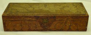 Antique Wood Pyrography Burnt Cherry Cherries Motif Glove Trinket Dresser Box photo