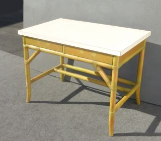Vintage Mid - Century Modern Bamboo Two Drawer Desk W White Laminate Table Top photo