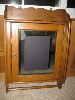 Antique Vintage Oak Medicine Cabinet With Mirror And Towel Bar photo