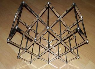 Mid - Century Modern Industrial Chrome Steel Folding Wine Rack Great Retro Look photo