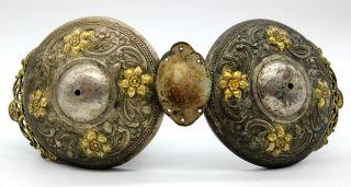1800s Ethnic Greek Macedonian Folk Costume Bronze Gilded Belt Buckle Clasp photo