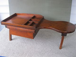 Antique Cobblers Bench,  Pine Wood,  Square Nail Const,  One Board Top,  Drawer photo