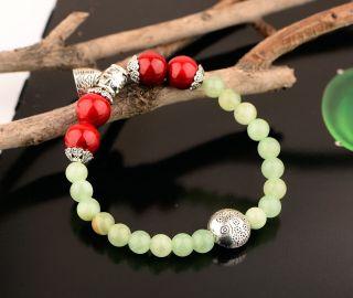 Chinese Jade & Tibet Silver Handwork Fashion Bracelet Gd3403 photo