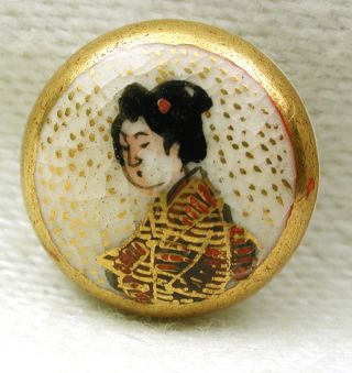 Antique Meiji Era Satsuma Button Geisha W Gold Accents - 1/2