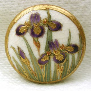 Antique Meiji Satsuma Button Colorful Iris W/ Gold Accents 11/16