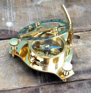 Maritime Pocket West London Solid Brass Sundial Compass Nautical Marine Decor 3