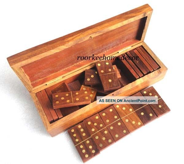 Domino Brass & Wooden Vintage Stylish Game With Wooden Box Other Maritime Antiques photo