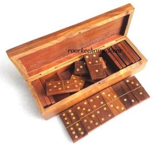 Domino Brass & Wooden Vintage Stylish Game With Wooden Box photo