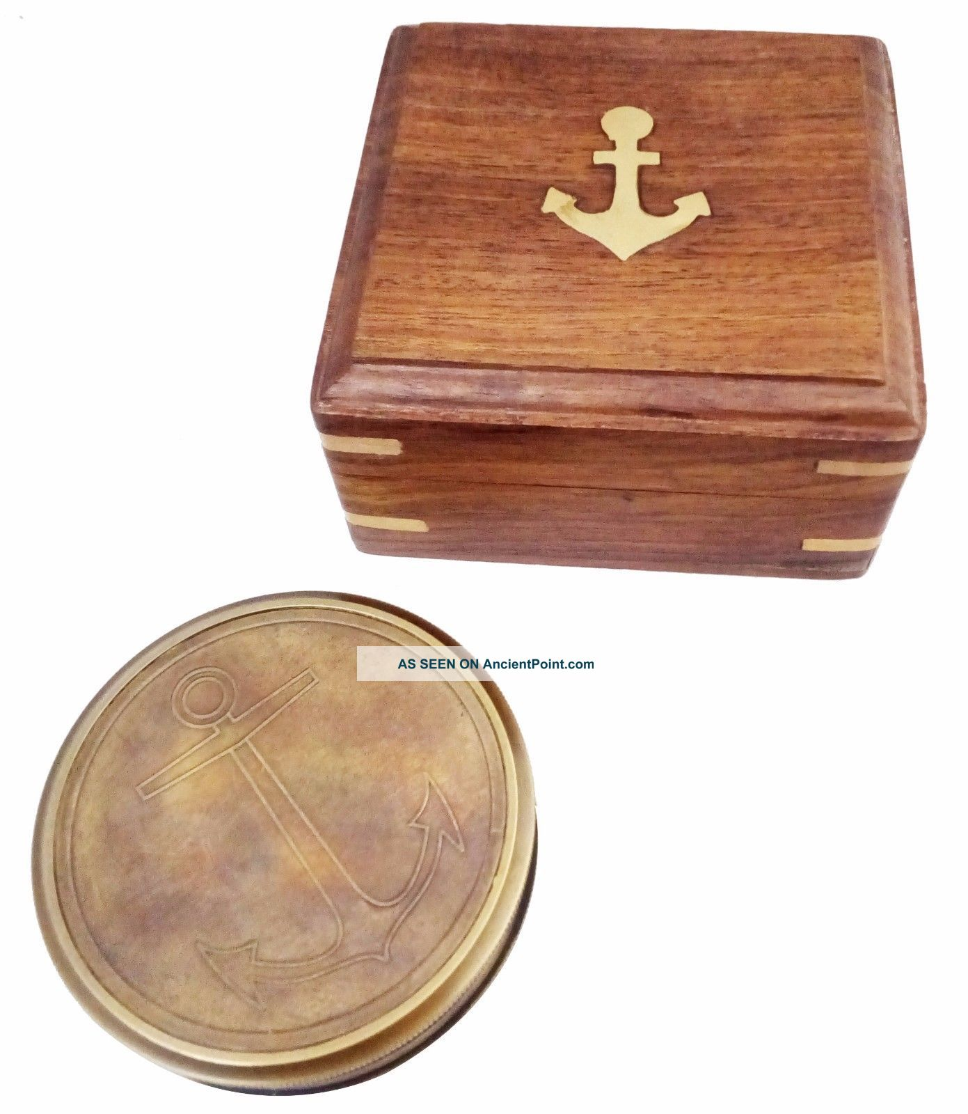 Artshai Antique Look Magnetic Compass With Wooden Box And 40 Years Calendar Compasses photo
