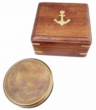 Artshai Antique Look Magnetic Compass With Wooden Box And 40 Years Calendar photo