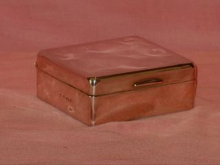 Vintage Hall Marked Silver Hinged Box With Wooden Lining photo