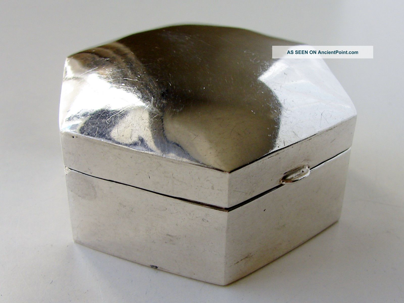 Vintage Solid Sterling Silver Hinged Trinket Box London Hallmarked Boxes photo