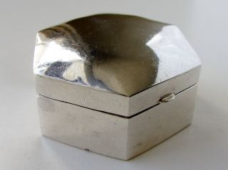 Vintage Solid Sterling Silver Hinged Trinket Box London Hallmarked photo