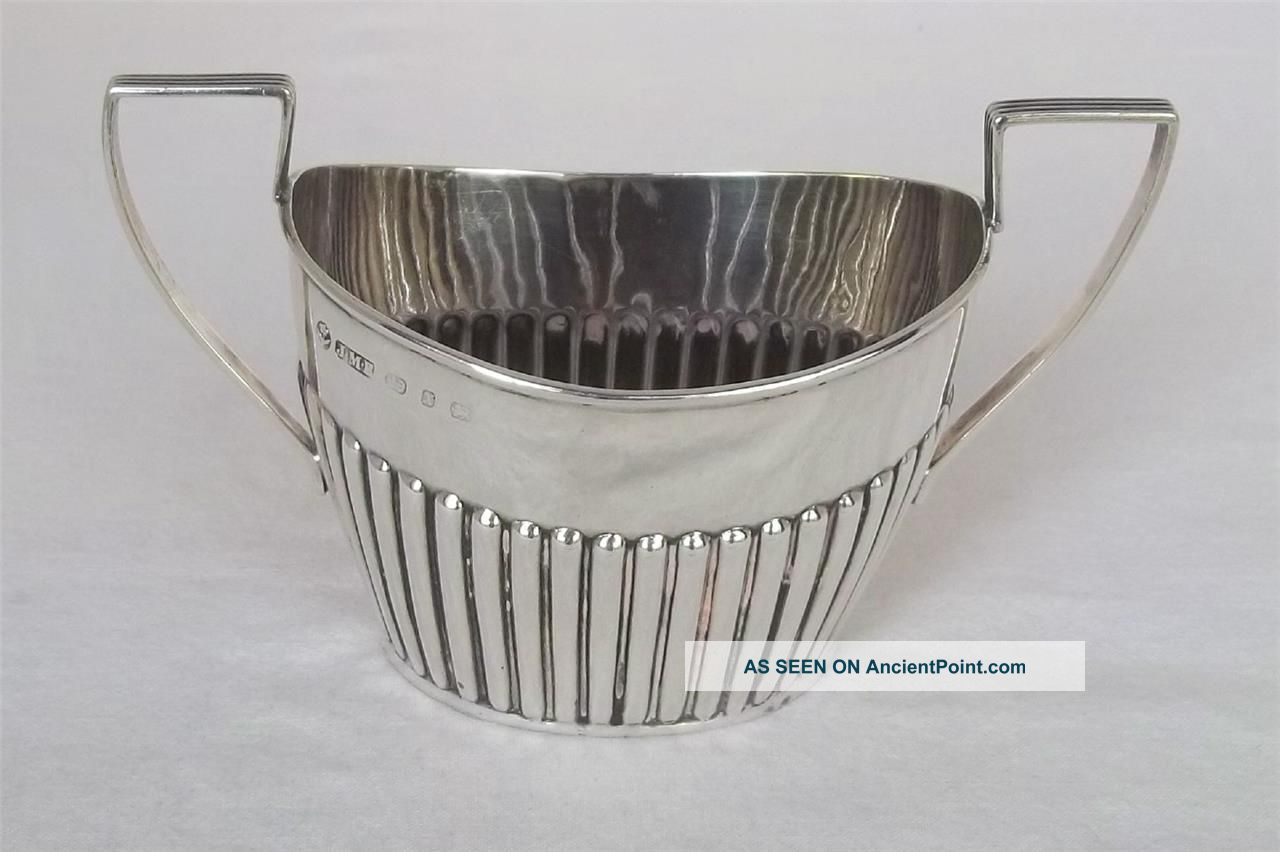 An Antique Solid Sterling Silver Victorian Twin Handled Sugar Bowl Dates 1897. Sugar Bowls & Tongs photo