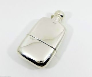 Antique English Solid Silver 1/2 Pt Hip Flask & Cup,  (walker & Hall,  253g,  1914) photo