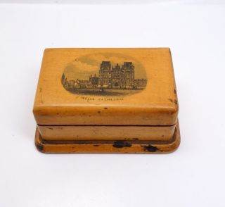 Antique 19c Souvenir Treen Stamp Box Wells Cathedral Somerset England photo