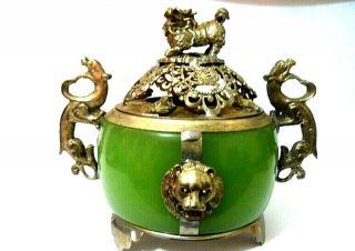 China Handmade Old Tibet Silver Dragon Jade Incense Burner photo