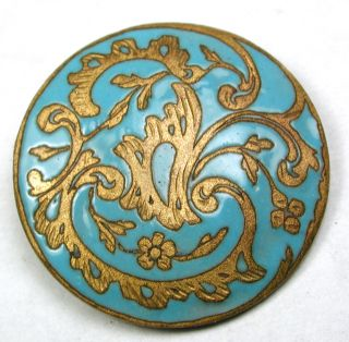 Antique Enamel Button Fancy Brass Flowers & Turquoise Enamel Design - 15/16