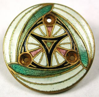 Antique French Enamel Button Colorful Triad Design - 7/8