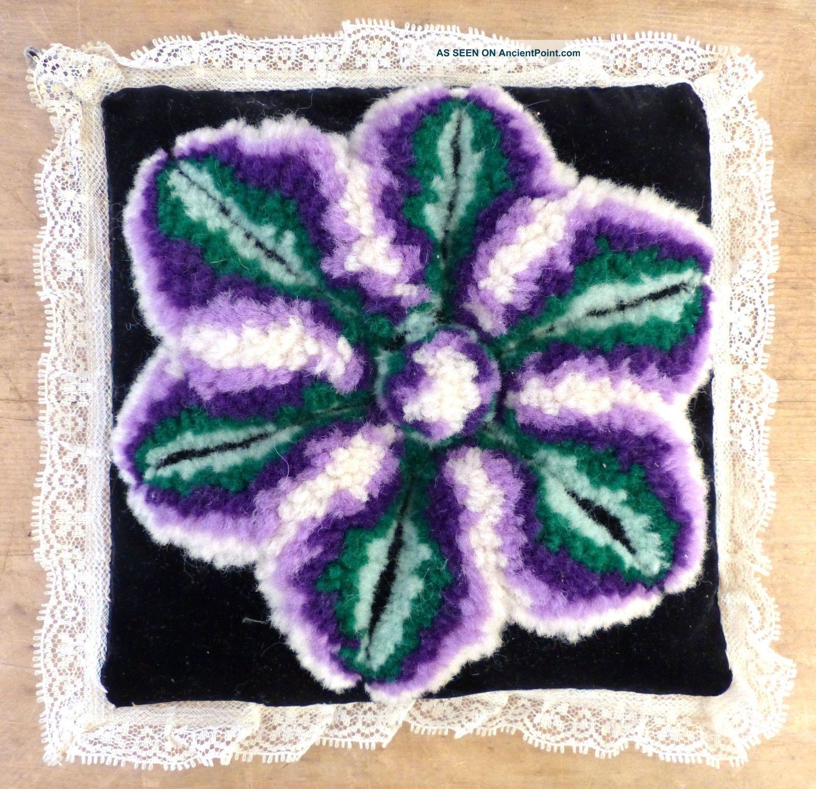 Antique Folk Art Mennonite Amish Sewing Velvet Stumpwork Pin Cushion 2 Pin Cushions photo
