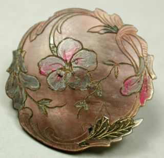 Antique Carved Shell Button Pansy Flower W Fancy Border Paint & Luster Accent 1