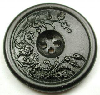 Lg Sz Antique Horn Button Detailed Art Nouveau Flowers Sew Through - 1 & 7/16