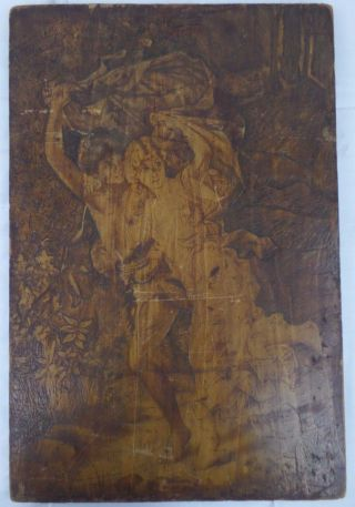 1903 Antique Hand Carved Wood Plaque Wall Panel Board Boy Girl Running Nemtzoft photo