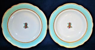 Pair Antique Lerosey Rue De La Paix Paris Porcelain Hand Painted Monogram Bowls photo