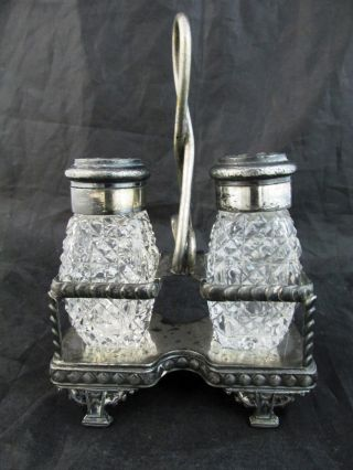 C1900s Brilliant Cut Glass Shakers Caning Pattern Meriden Silverplate Frame photo