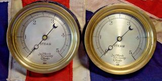 Matching 1913 Steam Pressure Gauge By Marsh Chicago Usa Train Steampunk photo