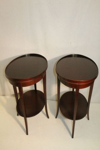 Delightful English Sheraton Style Oval Mahogany Side End Lamp Tables photo