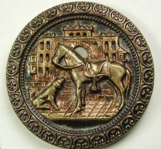 Antique Button Saddled Horse & His Dog W Pierced Building Lg Sz 1 & 3/8