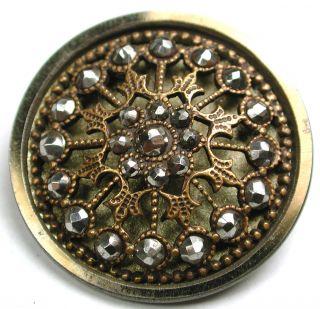 Lg Sz Antique Steel Cup Button Filigree Flower W/ Cut Steel Accents - 1 & 3/8 photo