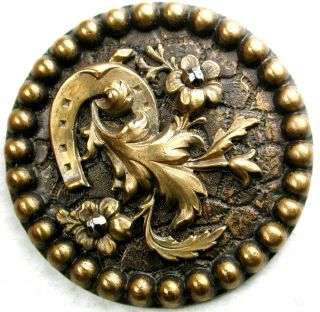 Lg Sz Antique Brass Button Horse Shoe & Flowers W/ Cut Steel Accents 1 & 7/16