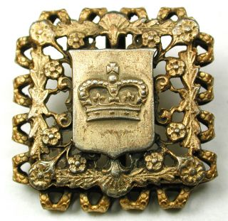 Antique Square Pierced Brass Button Crown On Shield W/ Flowers Border 1 & 3/16